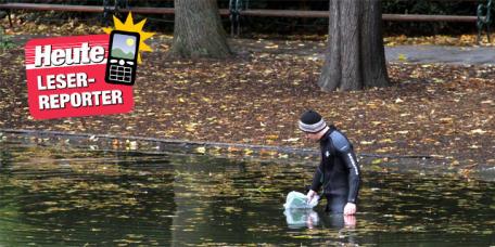 Der Mann bei seiner Suche im Teich des Stadtparks (© Leser-Reporter Erich Janschitz)